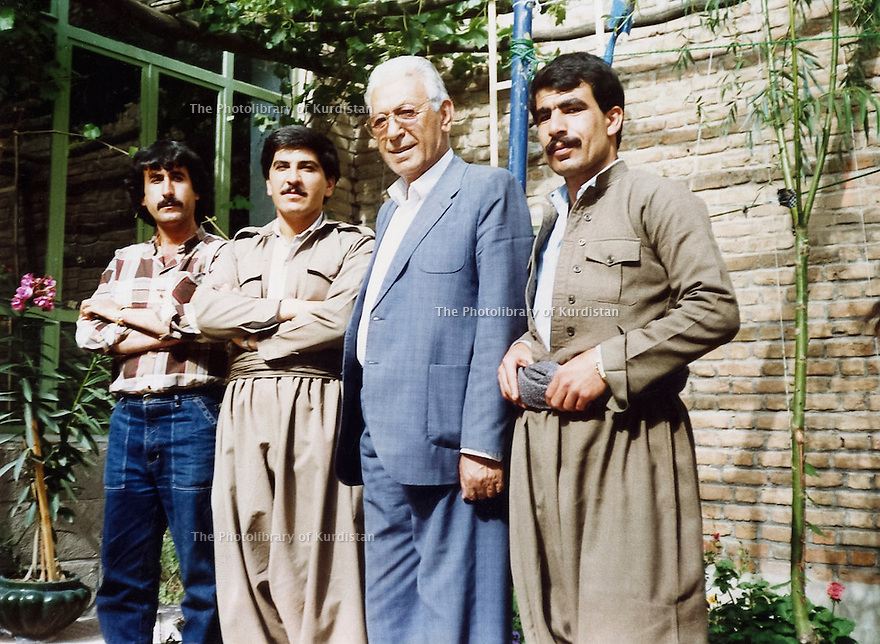 Iran 1989.Peshmergas visiting Mohamed Mameli , 2nd right, in Mahabad; 3rd from right, Rizgar Mustafa
