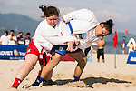 TURSHABEK Kymbat of Kazakhstan fights against ERKINBAEVA Saneayim of Uzbekistan during the Sambo Women's +72kg Contest for Bronze Medal A on Day Nine of the 5th Asian Beach Games 2016 at Bien Dong Park on 02 October 2016, in Danang, Vietnam Photo by Marcio Machado / Power Sport Images
