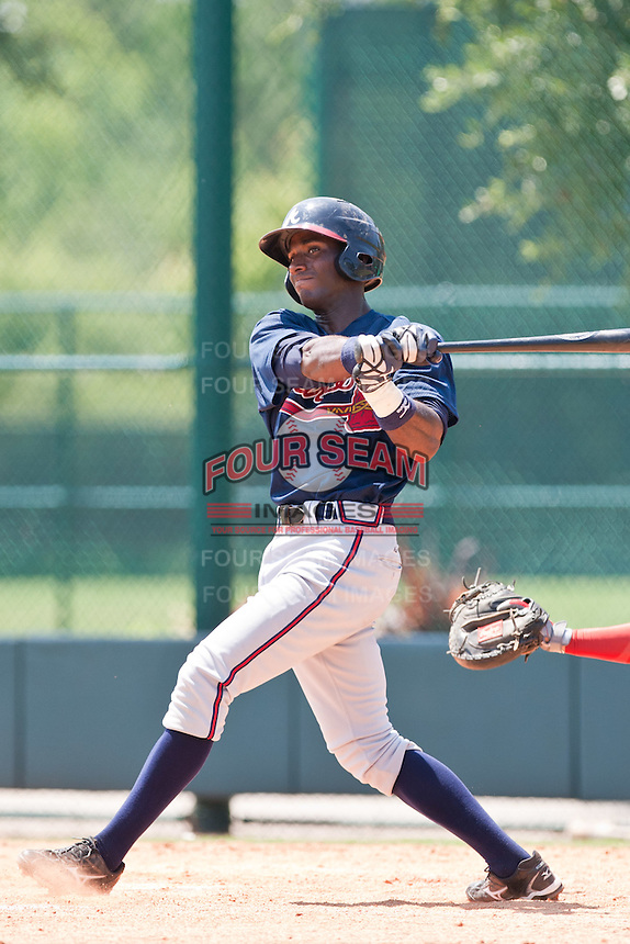 Wilson Rivera of the Gulf Coast League Braves during the game against the Gulf Coast League Phillies July 10 2010 at the Disney Wide World of Sports in Orlando, Florida.  Photo By Scott Jontes/Four Seam Images