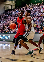 8 January 2020: Stony Brook University Seawolf Guard Elijah Olaniyi, a Junior from Newark, NJ, in the second half action against the University of Vermont Catamounts at Patrick Gymnasium in Burlington, Vermont. The Seawolves defeated the Catamounts 81-77 in a closely fought game. Mandatory Credit: Ed Wolfstein Photo *** RAW (NEF) Image File Available ***