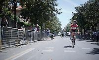 Maxime Monfort (BEL/Lotto-Soudal) to the start<br /> <br /> 2015 Giro<br /> stage 2: Albenga - Genova (177km)