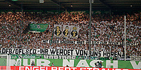 """20.08.2018, Football DFB Pokal 2018/2019, 1. round, SpVgg Greuther Fuerth - Borussia Dortmund, Sportpark Ronhof in Fuerth. Fuerther Fans and Spruchbang dgen Grindel and Co: """"Mit Eurer Ignoranz habt Ihr Euch  Affen gemacht! DFB/DFL and Co - Ihr werdet noch of  uns hoeren!""""<br /><br /><br />***DFB rules prohibit use in MMS Services via handheld devices until two hours after a match and any usage on internet or online media simulating video foodaye during the match.*** *** Local Caption *** © pixathlon<br /> <br /> Contact: +49-40-22 63 02 60 , info@pixathlon.de"""