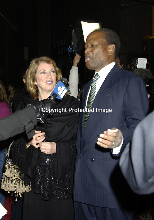 """Sidney Poitier and wife Joanna ..arriving at the Broadway opening of """"The Color Purple"""" ..produced by Oprah Winfrey on December 1, 2005 ..at The Broadway Theatre...Photo by Robin Platzer, Twin Images"""