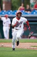 Auburn Doubledays center fielder Armond Upshaw (8) runs to first base during the first game of a doubleheader against the Mahoning Valley Scrappers on July 2, 2017 at Falcon Park in Auburn, New York.  Mahoning Valley defeated Auburn 3-0.  (Mike Janes/Four Seam Images)