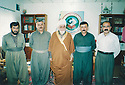 Iraq 2000 .2nd from right, Mahmoud Sangawy visiting with Mala Ahmed and  Moulla Ahmed Discara, Ali  Abdul Aziz, chief of a Kurdish islamic party in Halabja .Irak 2000 .2eme a droite, Mahmoud Sangawy visitant avec  Mala Ahmed et Moulla Ahmed Discara, Ali Abdul Aziz, chef d'un parti kurde islamique a Halabja