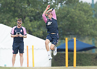 Ethan Bamber of Middlesex CCC warms up with the squad before Middlesex CCC vs Hampshire CCC, Bob Willis Trophy Cricket at Radlett Cricket Club on 11th August 2020
