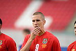 Wales' Steve Morison winning his first cap during the International Friendly between Wales and Luxembourg at Parc y Scarlets in LLanelli..
