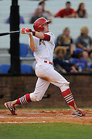 Catcher Charlie Neil (32) of the Johnson City Cardinals bats in a game against the Elizabethton Twins on Sunday, July 27, 2014, at Howard Johnson Field at Cardinal Park in Johnson City, Tennessee. The game was suspended due to weather in the fifth inning. (Tom Priddy/Four Seam Images)