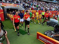 Fifa Women's World Cup Germany 2011 : Zweden - France Frankrijk at Sinsheim World Cup stadium : opkomst speelsters + referees.foto DAVID CATRY / Vrouwenteam.be