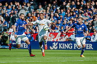 LEICESTER, ENGLAND - APRIL 18: Wayne Routledge of Swansea City  in action during the Premier League match between Leicester City and Swansea City at The King Power Stadium on April 18, 2015 in Leicester, England.  (Photo by Athena Pictures/Getty Images)