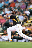 Pittsburgh Pirates outfielder Mel Rojas Jr. (81) during a Spring Training game against the Boston Red Sox on March 12, 2015 at McKechnie Field in Bradenton, Florida.  Boston defeated Pittsburgh 5-1.  (Mike Janes/Four Seam Images)