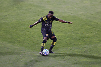 COLUMBUS, OH - DECEMBER 12: Harrison Afful #25 of the Columbus Crew plays the ball during a game between Seattle Sounders FC and Columbus Crew at MAPFRE Stadium on December 12, 2020 in Columbus, Ohio.