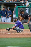 Home plate umpire Javerro January stands behind catcher Drew Butera (16) of the Albuquerque Isotopes on defense against the Salt Lake Bees at Smith's Ballpark on July 25, 2019 in Salt Lake City, Utah. The Bees defeated the Isotopes 8-3. (Stephen Smith/Four Seam Images)