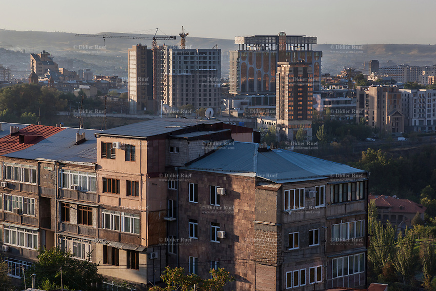 Armenia. Yerevan. Sunrise on the city center. Old and new buildings. Yerevan, sometimes spelled Erevan, is the capital and largest city of Armenia. 1.10.2019 © 2019 Didier Ruef