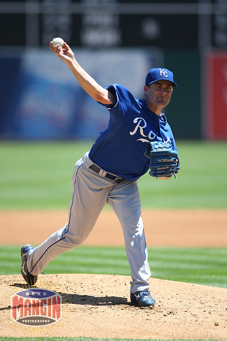 OAKLAND, CA - JULY 30:  Brian Bannister of the Kansas City Royals pitches during the game against the Oakland Athletics at the McAfee Coliseum in Oakland, California on July 30, 2008.  The Royals defeated the Athletics 4-3.  Photo by Brad Mangin