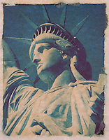 Polaroid Transfer Photograph of the Statue of Liberty, Upper New York Bay, New York City, New York State, USA<br /> <br /> AVAILABLE FOR COMMERCIAL OR EDITORIAL LICENSING THRU MY STOCK AGENT GETTY IMAGES. Please go to www.gettyimages.com and search for image # 480012189.