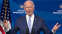 United States President-elect Joe Biden delivers remarks from the Queen Theatre in Wilmington, Delaware on the unrest in and around the US Capitol in Wilmington, Delaware on Wednesday, January 6, 2021.  In his remarks Biden condemned Trump for inciting the violence.<br /> CAP/MPI/RS<br /> ©RS/MPI/Capital Pictures