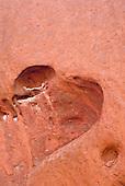 Uluru, Australia. Heart-shaped cavity at Uluru (Ayers Rock).