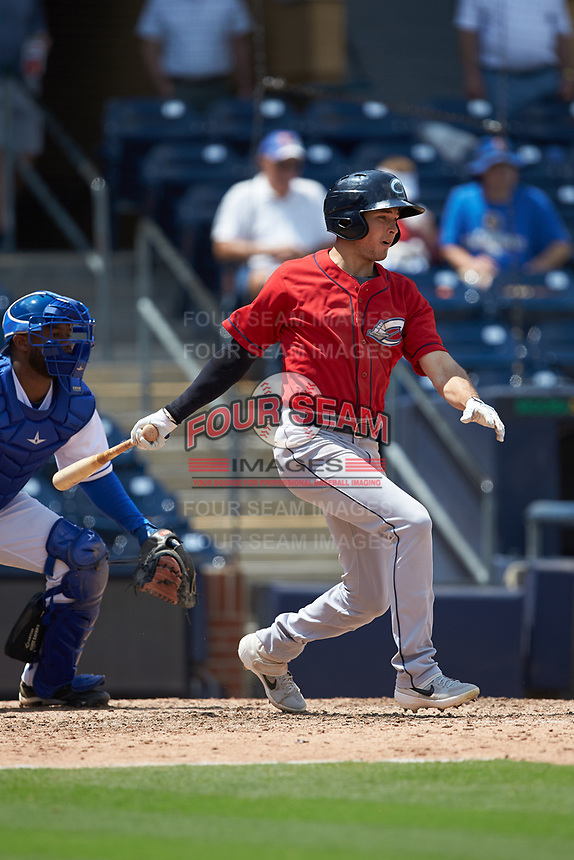 Tyler Krieger (2) of the Columbus Clippers follows through on his swing against the Durham Bulls at Durham Bulls Athletic Park on June 1, 2019 in Durham, North Carolina. The Bulls defeated the Clippers 11-5 in game one of a doubleheader. (Brian Westerholt/Four Seam Images)