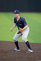 Wilmington Blue Rocks first baseman Travis Maezes (8) on defense against the Buies Creek Astros at Jim Perry Stadium on April 29, 2017 in Buies Creek, North Carolina.  The Astros defeated the Blue Rocks 3-0.  (Brian Westerholt/Four Seam Images)