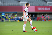 TOKYO, JAPAN - JULY 21: Abby Dahlkemper #17 of the United States controls the ball during a game between Sweden and USWNT at Tokyo Stadium on July 21, 2021 in Tokyo, Japan.