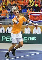 04-03-11, Tennis, Oekraine, Kharkov, Daviscup, Oekraine - Netherlands, Thiemo de Bakker