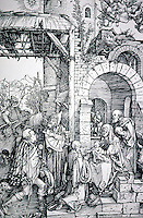 Visual Arts:  Albrecht Durer--Adoration of the Magi, 1503.  It was said by Pilgrims that a ruined castle was the site of the Adoration. (Compare to painting woodcut from THE LIFE OF THE VIRGIN.)