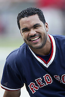 Ugeth Urbina of the Boston Red Sox before a 2002 MLB season game against the Los Angeles Angels at Angel Stadium, in Anaheim, California. (Larry Goren/Four Seam Images)