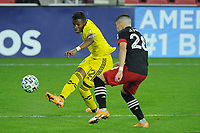 WASHINGTON, DC - OCTOBER 28: Luis Diaz #12 of Columbus Crew SC battles for the ball with Joseph Mora #28 of D.C. United during a game between Columbus Crew and D.C. United at Audi Field on October 28, 2020 in Washington, DC.