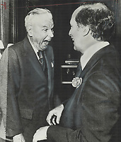 A moments bantering was exchanged last night between former Prime Minister John Diefenbaker and Prime Minister Pierre Trudeau during reception at residence of Canadian High Commissioner Paul Martin.<br /> <br /> Photo : Boris Spremo - Toronto Star archives - AQP