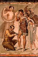 Roman Art:  Fresco--Enea ferito (da Pompeii).   National Museum, Naples.