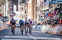 World Champion Julian Alaphilippe (FRA/Deceuninck - QuickStep), Alejandro Valverde (ESP/Movistar), Tadej Pogačar (SVN/UAE-Emirates), Michael Woods (CAN/Israel Start-Up Nation) & David Gaudu (FRA/Groupama - FDJ) sprinting for victory towards the finish line in Liège<br /> <br /> 107th Liège-Bastogne-Liège 2021 (1.UWT)<br /> 1 day race from Liège to Liège (259km)<br /> <br /> ©kramon