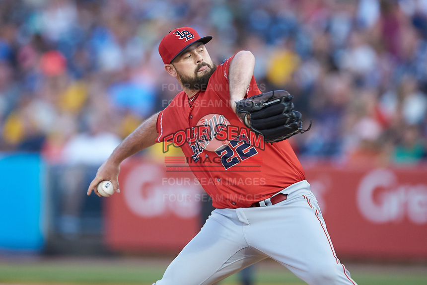 Louisville Bats relief pitcher Jackson Stephens (22) in action against the Toledo Mud Hens at Fifth Third Field on June 16, 2018 in Toledo, Ohio. The Mud Hens defeated the Bats 7-4.  (Brian Westerholt/Four Seam Images)