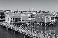 Cottages on Old North Wharf in Nantucket, Massachusetts.