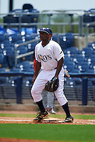 GCL Rays first baseman Devin Davis (32) waits for a throw during the second game of a doubleheader against the GCL Red Sox on August 4, 2015 at Charlotte Sports Park in Port Charlotte, Florida.  GCL Red Sox defeated the GCL Rays 2-1.  (Mike Janes/Four Seam Images)