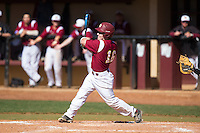 Roger Gonzalez (16) of the Winthrop Eagles follows through on his swing against the Kennesaw State Owls at the Winthrop Ballpark on March 15, 2015 in Rock Hill, South Carolina.  The Eagles defeated the Owls 11-4.  (Brian Westerholt/Four Seam Images)