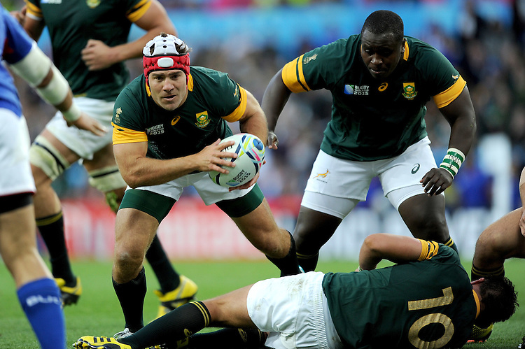Schalk Brits of South Africa sniffs out the tryline during Match 15 of the Rugby World Cup 2015 between South Africa and Samoa - 26/09/2015 - Villa Park, Birmingham<br /> Mandatory Credit: Rob Munro/Stewart Communications