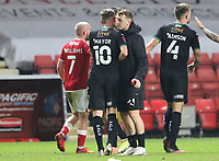 Luke Jephcott of Plymouth Argyle celebrates full time with Danny Mayor of Plymouth Argyle during Charlton Athletic vs Plymouth Argyle, Emirates FA Cup Football at The Valley on 7th November 2020