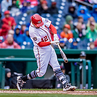 15 April 2018: Washington Nationals first baseman Ryan Zimmerman at bat against the Colorado Rockies at Nationals Park in Washington, DC. All MLB players wore Number 42 to commemorate the life of Jackie Robinson and to celebrate Black Heritage Day in pro baseball. The Rockies edged out the Nationals 6-5 to take the final game of their 4-game series. Mandatory Credit: Ed Wolfstein Photo *** RAW (NEF) Image File Available ***