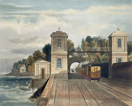 Andrew Nicholl's portrayal of the new Dublin and Kingstown Railway at Blackrock