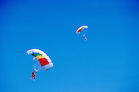 Two Sky Divers / Parachute Jumpers skydiving and jumping, Lower Fraser Valley, BC, British Columbia, Canada