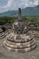 Borobudur, Java, Indonesia. A Stupa at the Borobudur Temple.
