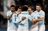 Calcio, Serie A: Lazio - Udinese, Roma, stadio Olimpico, 24 gennaio 2018.<br /> Lazio's Luis Carlos Nani (c) celebrates after scoring with his teammates during the Italian Serie A football match between Lazio and Udinese at Rome's Olympic stadium, January 24, 2018.<br /> UPDATE IMAGES PRESS/Isabella Bonotto