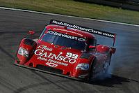 #99 Gainsco/Bob Stallings Racing Chevrolet/Riley of Jon Fogarty & Alex Gurney locks up the left front under braking for turn 4.