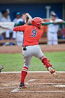 Kevin Maitan (9) of the Orem Owlz bats against the Ogden Raptors at Lindquist Field on August 4, 2018 in Ogden, Utah. The Owlz defeated the Raptors 15-12. (Stephen Smith/Four Seam Images)