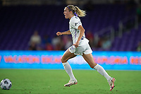 ORLANDO, FL - SEPTEMBER 11: Freja Olofsson #8 of Racing Louisville FC dribbles the ball during a game between Racing Louisville FC and Orlando Pride at Exploria Stadium on September 11, 2021 in Orlando, Florida.