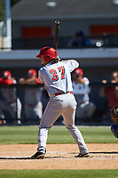 Rylan Thomas (37) of the Greeneville Reds at bat against the Burlington Royals at Burlington Athletic Stadium on July 8, 2018 in Burlington, North Carolina. The Royals defeated the Reds 4-2.  (Brian Westerholt/Four Seam Images)