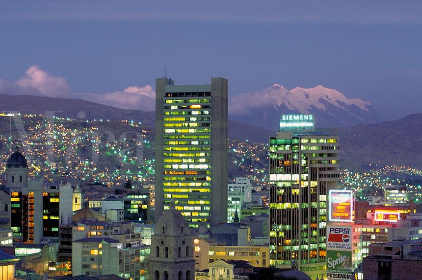 South America ; travel ; skyline ; Mt. Illimani ; mount ; dusk ;. La Paz, Bolivia.