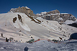 Avalanches above Col Rodella Ski Area above Canazei, Dolomites, Italy,
