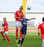 20190304 - LARNACA , CYPRUS : Austrian Carina Wenninger  pictured in a duel with Slovakian Veronika Slukova (r) during a women's soccer game between Slovakia and Austria , on Monday 4 th March 2019 at the GSZ Stadium in Larnaca , Cyprus . This is the third and last game in group C for both teams during the Cyprus Womens Cup 2019 , a prestigious women soccer tournament as a preparation on the Uefa Women's Euro 2021 qualification duels. PHOTO SPORTPIX.BE | DAVID CATRY